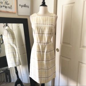 Jaclyn Smith Yellow Plaid Dress Size 8